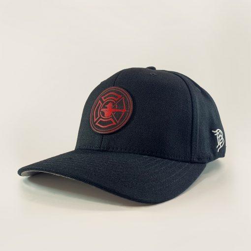 Black Flex Fit Hat - Fire Patch