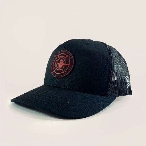 Black Trucker Hat - Fire Patch