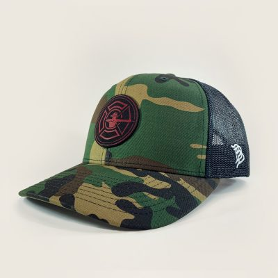 Camo / Black Trucker Hat - Fire Patch