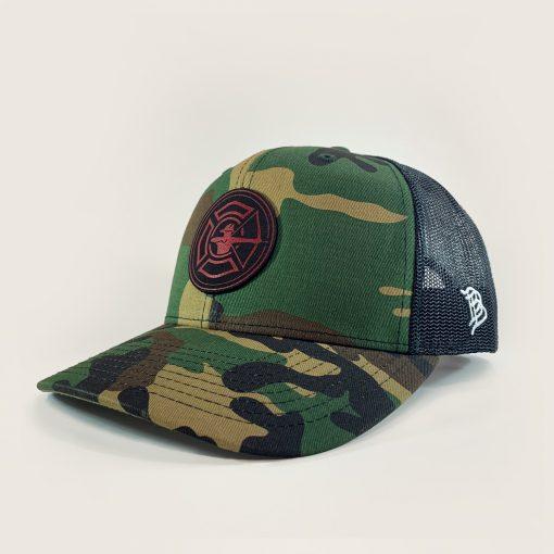 Camo / Black Trucker Hat - Fire Patch