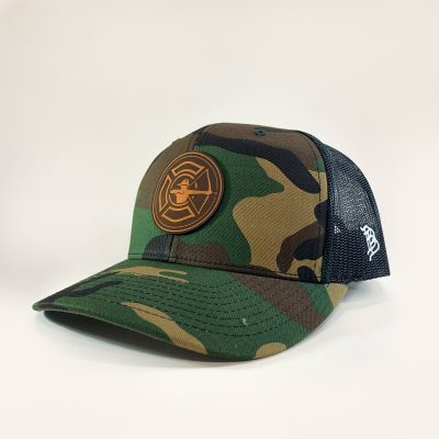 Camo / Black Trucker Hat - Tan Patch