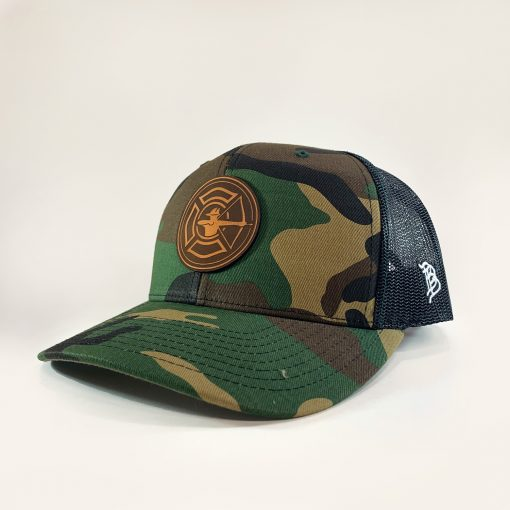 Camo / Black Trucker Hat - Tan Patch
