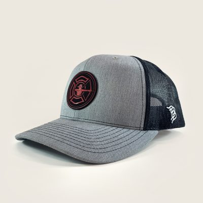 Heather Grey / Black Trucker Hat - Fire Patch
